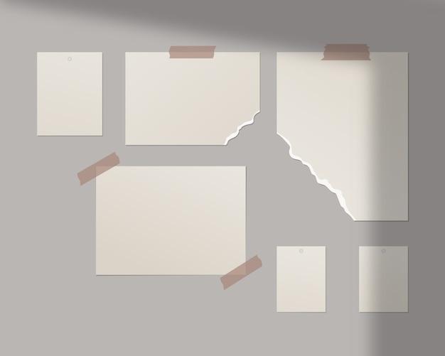 Moodboard-vorlage. leere weiße blätter an der wand. vorlagenentwurf. realistische illustration.