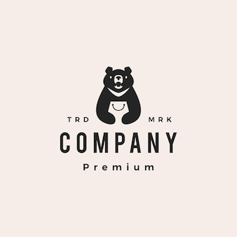 Moon black bear vietnam shop einkaufstasche hipster vintage logo vektor icon illustration