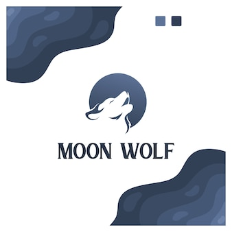 Moon wolf logo design