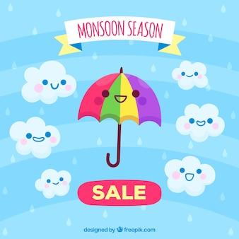 Moonson-jahreszeit-verkaufshintergrund mit karikaturen