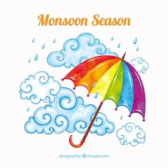 Moonson-jahreszeithintergrund mit regen