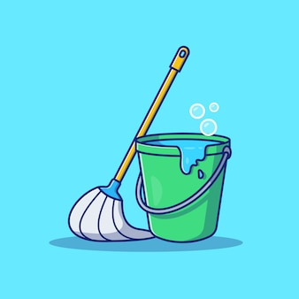 Mop und eimer symbol illustration. reinigungswerkzeug symbol konzept isoliert. flacher cartoon-stil
