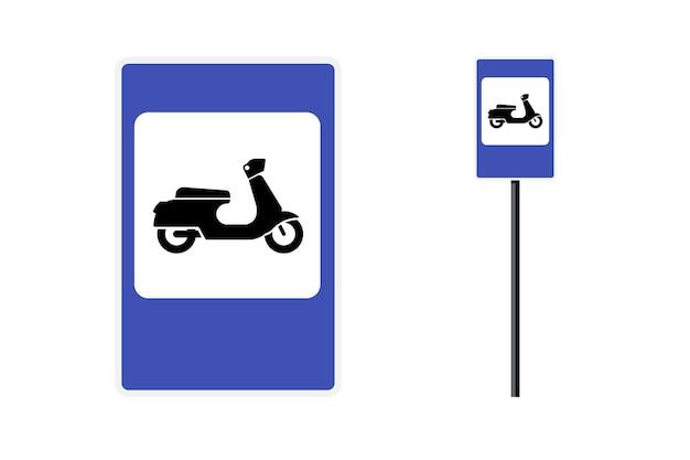 Moped-motorroller-parkzone blaues rechteckiges straßenschild für den stadtmobilitätstransportvektor retro