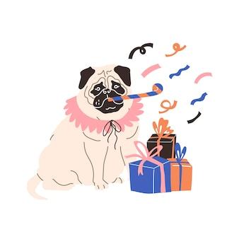 Mops-hund in festlichem kostüm mit geschenken, die weihnachten und neujahr feiern vektorillustration
