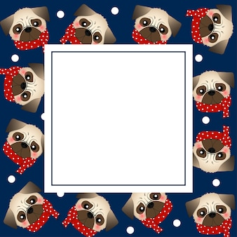 Mops-hund mit rotem schal auf marine-blau-fahnen-karte