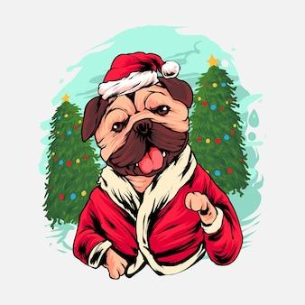 Mops hund weihnachtsillustration premium-vektor