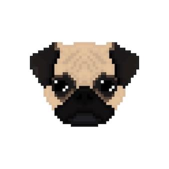 Mops hundekopf im pixel-art-stil