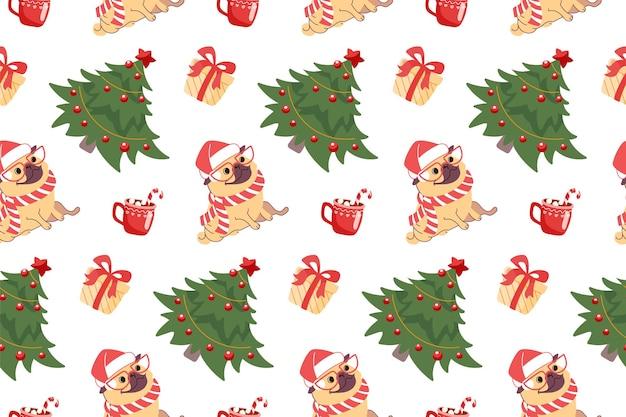 Mops im weihnachtsmann-hut weihnachten nahtloses muster