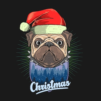 Mops kopf mit weihnachtshut illustration grafik