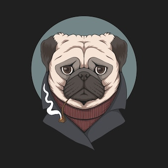 Mops-rauchpfeifenillustration