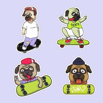 Mops skater aufkleber illustration design