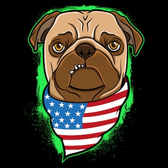 Mops usa flagge illustration