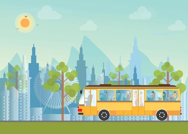 Morgen stadt skyline mit bus.