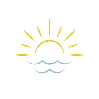 Morgendämmerung am meer sonne symbol reisebüro emblem konzept vektor logo vorlage