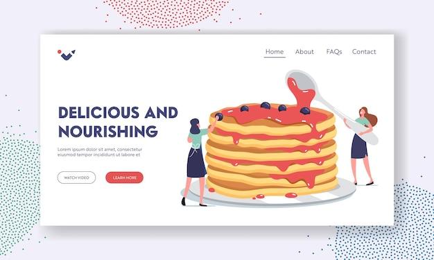 Morgenessen, kulinarische hobby-landing-page-vorlage. winzige weibliche charaktere, die einen riesigen stapel frischer heißer pfannkuchen mit süßem sirup gießen und mit frischen beeren dekorieren. cartoon-menschen-vektor-illustration