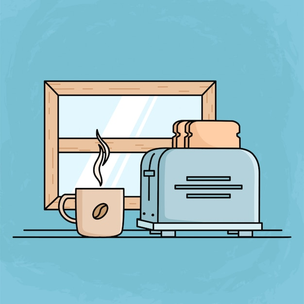 Morgenfrühstück mit toastbrot und kaffeetasse. flache design-frühstücksillustration