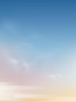 Morgenhimmel mit weißen wolken, vertikale himmelslandschaft.