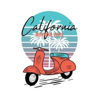 Morning vibes motorcycle beach typografie für t-shirt-druck mit palmbeach und motorrad