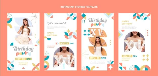 Mosaik-geburtstags-instagram-geschichten im flachen stil