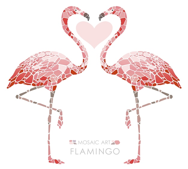 Mosaik rosa flamingos