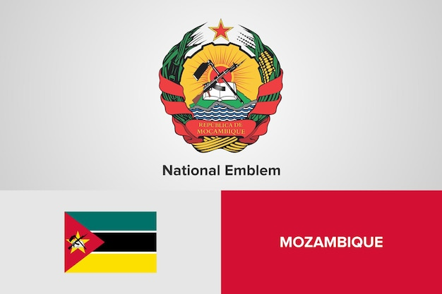 Mosambik national emblem flag vorlage