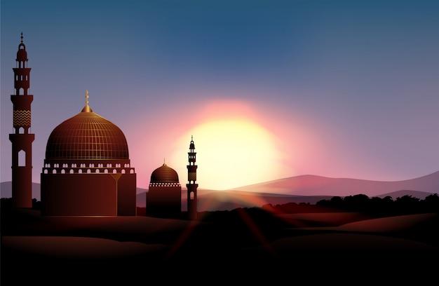 Moschee auf dem feld bei sonnenuntergang