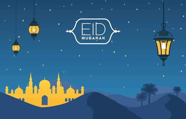 Moschee auf wüste mit islamischer illustration der dattel-baum-laterne von glücklichem eid mubarak