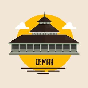 Moschee demak-marke indonesien muslimischer gebetsort