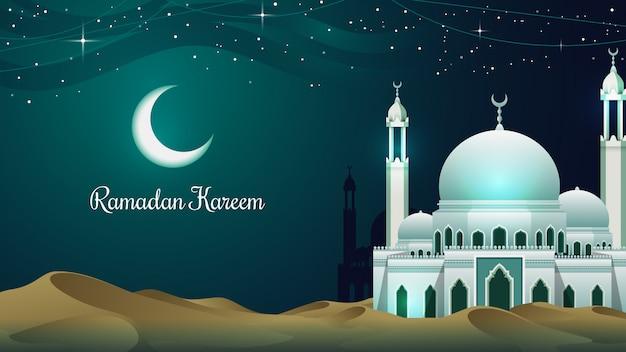 Moschee im hintergrund der wüste ramadan kareem