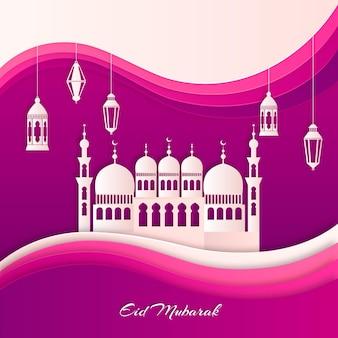 Moschee im stil von weißem und violettem papier