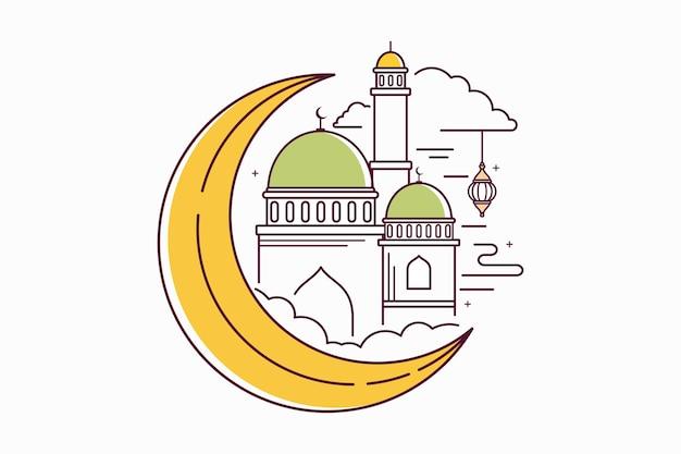 Moschee, mond und laterne. illustration der eid-feier mit umrissdesign. isolierter vektor auf weißem hintergrund