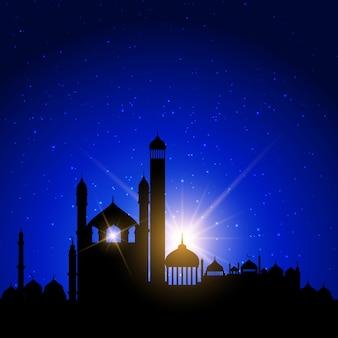 Moschee silhouetten gegen einen nachthimmel