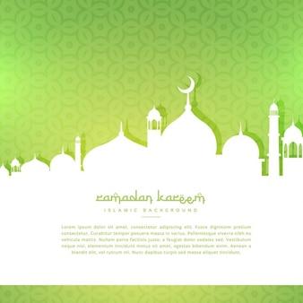 Moschee silhoutte im grünen muster hintergrund