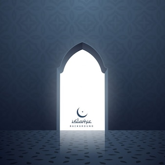 Moschee tür mit weißem licht im inneren kommen