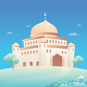 Moscheeillustration mit naturlandschaft