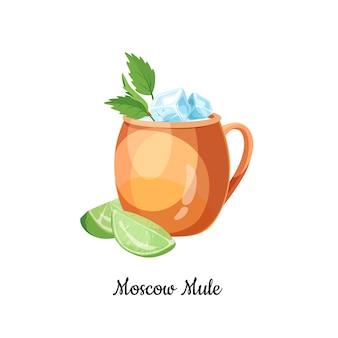 Moskauer maultiercocktail mit wodka, ingwerbier, garniert mit einer limettenscheibe. klassischer cocktail des moskauer maultiers im karikaturstil für menü, cocktailkarten, isolierte ikone.