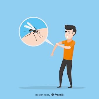 Moskito, der eine person mit flachem design beißt