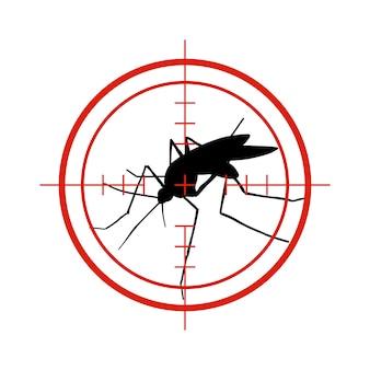 Moskito im roten ziel. antimücken, dengue-epidemie insektenbekämpfungsvektorsymbol lokalisiert