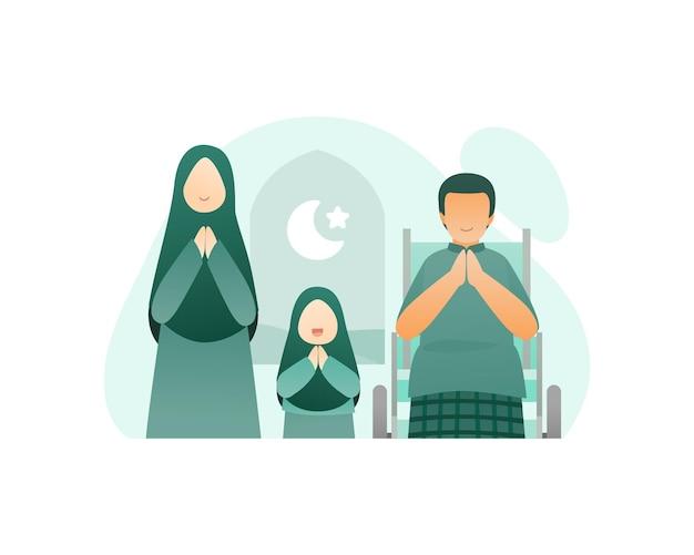 Moslemische familie begrüßt und feiert eid mubarak