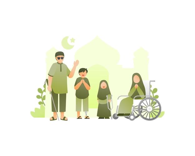 Moslemische familie feiert eid mubarak