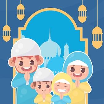 Moslemische familie grüßt ramadan kareem eid al fitr islamic