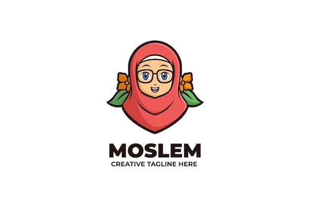 Moslemische frau trägt hijab-maskottchen-logo