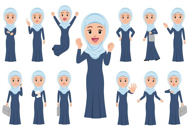 Moslemische geschäftsfrau in verschiedenen haltungen