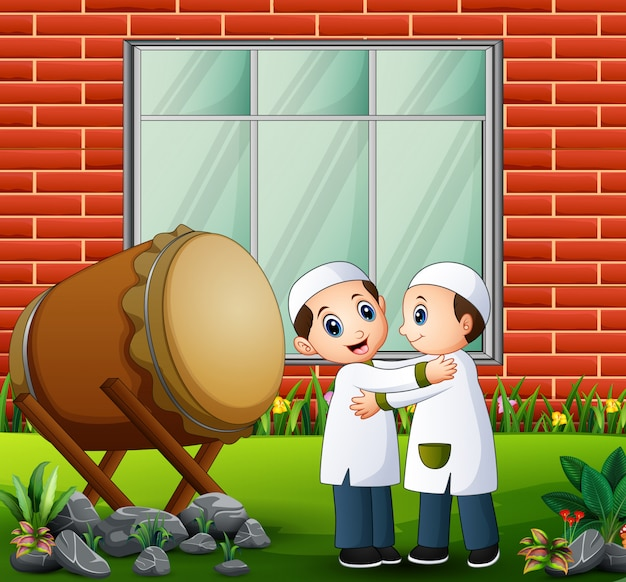 Moslemische kinderumarmung und wunsch nach eid-feier