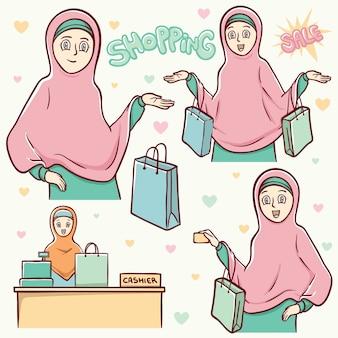 Moslemische mädcheneinkaufsillustration