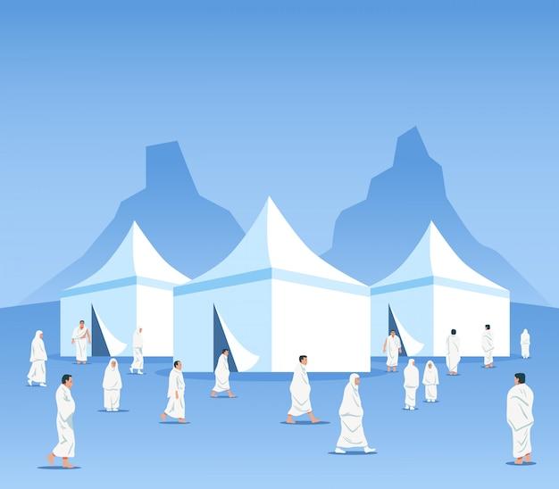 Moslemische pilger im zeltgelände