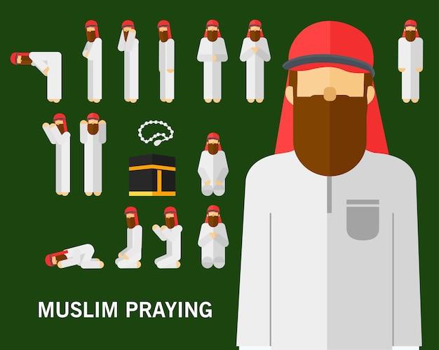 Moslemischer betender positionskonzepthintergrund. flache symbole