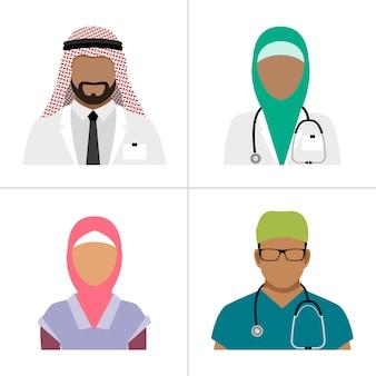Moslemischer heilberuflervektor. arabisches krankenhausteam, gruppe gesundheitspflegearbeitskräfte doc. und krankenschwester lokalisiert