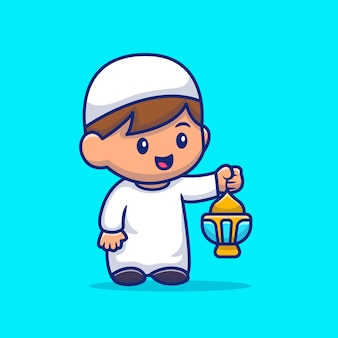 Moslemischer junge, der laternen-karikatur-symbol-illustration hält. people religion icon concept isoliert. flacher cartoon-stil