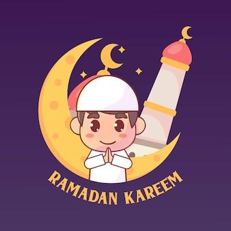 Moslemischer junge, der ramadan kareem islamisch grüßt
